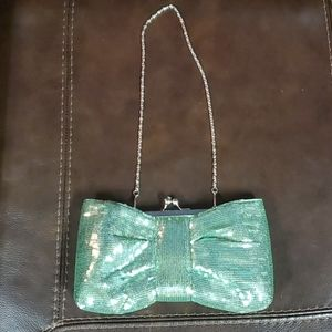 Seagreen sequin bow-style clutch with chain strap